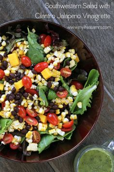 recip cook, freezer meals, cilantro jalapeno, chicken salads, jalapeno salad, health food recipes, jalapeno recipe, southwestern salad, jalapeno vinaigrette