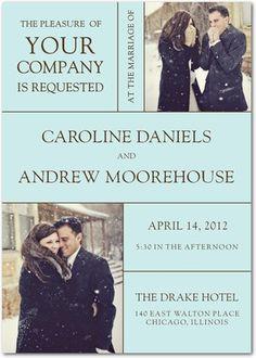 Signature White Wedding Invitations Headline Act - Front : Black
