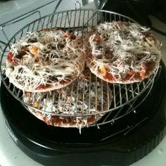 Homemade NuWave mini cheese steak pizzas :-)