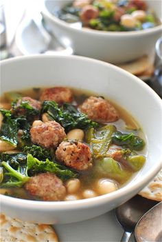 Soup with Sausage Meatballs, White Beans and Kale