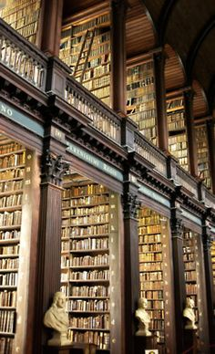 The Long Room - Trinity College, Dublin, Ireland...too bad one cannot replicate the old book smell there on Pinterest!  Lovely Place!