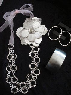 Premier Designs - Featured pieces are Eugenia necklace (with added ribbon and flower), Posh bracelet and Take Two earrings