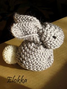 Free pattern - this bunny is formed by cleverly sewing up and stuffing a knitted or crocheted square..