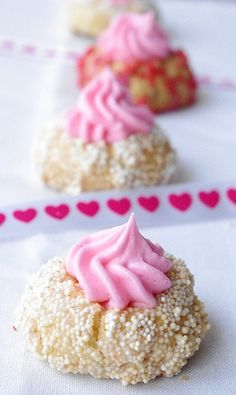 Valentine's Day Thumbprint Cookies //  How adorable are these pink and white thumbprint cookies!?