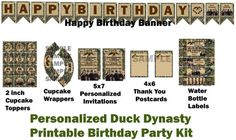 Printable Personalized Duck Dynasty Birthday Party Kit. $12.00, via Etsy.