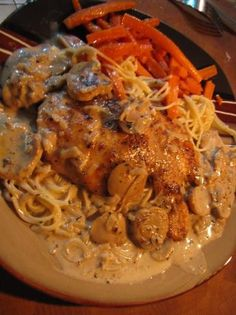Carraba's Chicken Marsala ~ I HAVE MADE THIS MANY TIMES, EVER SINCE I FIRST TASTED IT AT CARRABA'S YEARS AGO AND LOOKED UP THE COPYCAT RECIPE... TRULY AMAZING FLAVOR, EASY TO MAKE, YOU NEED TO BUY MARSALA COOKING WINE WHICH IS AT EVERY GROCER, I SERVE MINE WITH ANGEL HAIR. MY ALL TIME FAVORITE :) RK