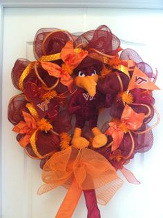 Virginia Tech Hokies wreath poly mesh deco mesh decorative wreath
