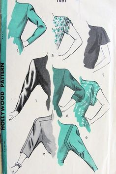 1940s RARE SLEEVES PATTERN 8 DIFFERENT STYLES of SLEEVES HOLLYWOOD PATTERNS 1691 sovintagepatterns.com