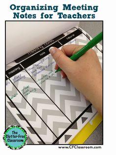 clutterfre classroom, note agenda, note organ, meet note, meet the teacher free, teacher organization free, organization in the classroom, meeting notes, classroom paper organization