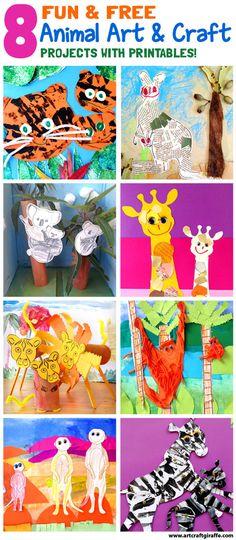 "8 Fun  Free Animal Art  Craft Projects by The Art  Craft Giraffe www.artcraftgiraffe.com. Inspired by the ""Hello Meerkat!"" Interactive Picturebook for iPad and iPhone- www.tinytwigastudios.com.au"