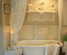 cottage house ideas, white bathrooms, shabby bathroom, vintage bathrooms, cottage bathroom decor, romantic bathrooms, decorating a bathtub, bed and breakfast bathroom, cottage bathrooms