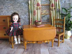 VTG Doll Furniture   Keystone Drop Leaf Table and Two by TheToyBox, $70.00