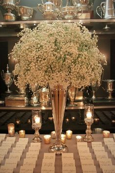 Who knew something as simple as baby's breath could be so gorgeous?! #weddingdecor #vintagewedding #weddingflowers