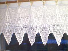 Filet crochet window curtain. $170.00, via Etsy.