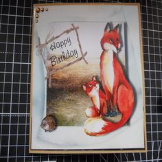 Handmade Greeting Card gift idea by Denise Watson found on MyOwnCreation: Mum and young fox sitting on the edge of a meadow. Mounted onto craft card with matching envelope