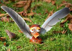 autumn craft, fall craft, chestnut bird, kid craft