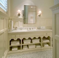 vaniti, cabinet, wall treatments, bathroom ideas, white bathrooms, guest bath, master baths, towel storage, open shelving