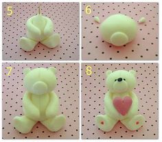 How to make a fondant teddy bear {Tutorial} http://caketrails-nz.blogspot.com/2011/01/how-to-make-fondant-teddy-bear.html