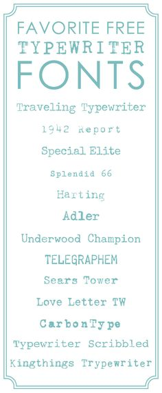 13 Favorite Free Typewriter Fonts for Scrapbooking  ~~ {13 free fonts w/ easy download links}