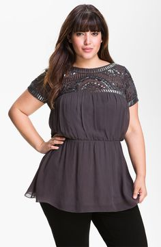 JS Collections Retro Beaded Chiffon Top (Plus)