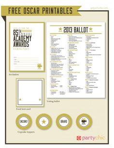 Free Oscar party printables! #oscars #party oscarparti, parties, party printables, free oscar, academy awards, oscar parti, parti printabl, parti idea, oscar party