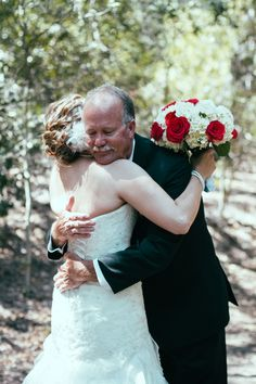 A sweet father daughter moment before the ceremony.