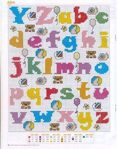 punto de cruz abecedarios, abecedario punto, abecedario infantil