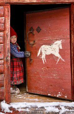 red doors, little girls, winter, christmas elf, horses, gnome, children, horse paintings, scandinavian christmas