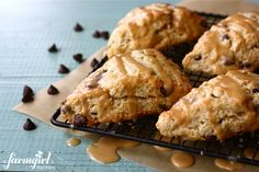 Chocolate Chip Scones with Peanut Butter Glaze