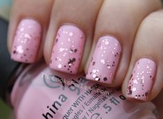 Pastel Pink Nails With Glitter Topcoat