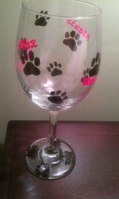 Painted wine glass Puppy print wine glass dog by MyShardsofGlass, $15.00