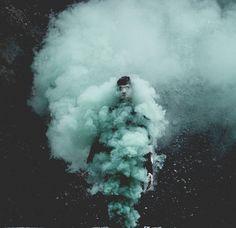people in smoke