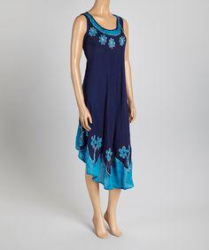 Navy & Turquoise Asymmetrical-Hem Dress