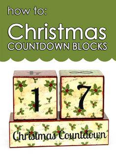 How to: Christmas Countdown Blocks #easy #fun #mod podge #vinyl