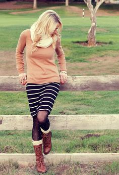 Tan with black & brown & cream + mixed prints (dotted tights, striped skirt)