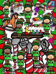 Santas Workshop Elves Clipart Bundle from tongassteacher on TeachersNotebook.com -  (74 pages)  - he bundle includes dolls, ducks, train, rocking horse, xylophone, candy cane tools, toolbox, paintbrush and paintbuckets, elf shoes, mailbox, wood shelf and of course, boy and girl elves