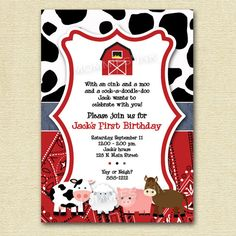 Mod Farm Animals Birthday Party Invite - PRINTABLE INVITATION DESIGN. $12.00, via Etsy.