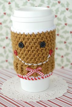 Gingerbread Coffee Cozy-Coffee Cup Cover-Brown-Gingerbread Cookie-Crochet-Crochet Coffee Cozy-Coffee Sleeve