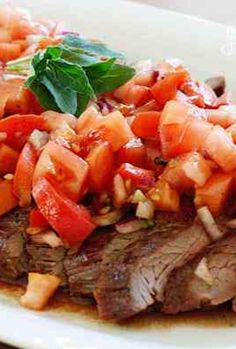Grilled Flank Steak Topped with Fresh Tomatoes, Red Onion and Balsamic