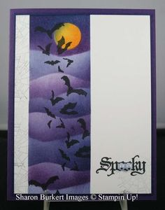 handmade Halloween card: Wicked Cool by Sharon Burkert ... shades of purple sponged cloud lines ... stamped bat flock ... full moon ... luv the googly eyes on the O's in SPOOKY ... awesome card! ... Stampin' Up!