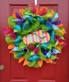 """Welcome"" Flip Flop Mesh Wreath"