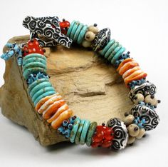 Turquoise and Silver Bracelet a Beaded Bracelet with by FebraRose