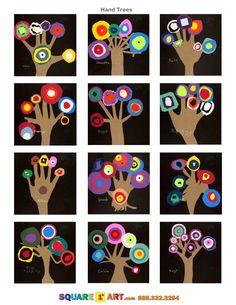Hand Trees Medium: Construction paper, Scissors, White Crayon www.square1art.com