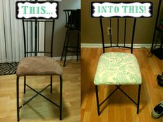 Reupholstered dining room chairs:  staple gun, paisley cream and teal home decor fabric and a screwdriver
