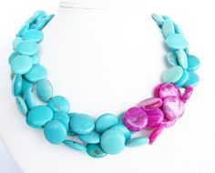 Statement Jewelry Pink and Turquoise by WildflowersAndGrace