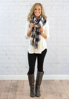 Navy & White Blanket Scarf