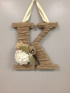 Twine & Burlap Letter   I want to do this!!  Not sure about the flower???