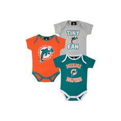 Miami Dolphins Newborn Team Color 3 Piece Foldover Neck Creeper Set found on Polyvore
