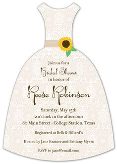 Sweet Sunflower Bridal Shower Invitation.