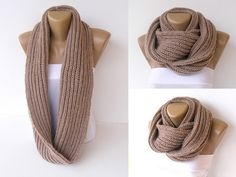 knitted infinity scarf  , knitted women scarves ,Block Infinity Scarf , Handmade knitted , Neck Warmer. LONG scarf, camel Crochet Infinity on Etsy, $30.00